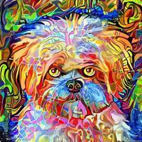 pintura de retrato impressionista de cão terrier adorável artístico adorável vetor