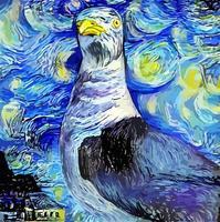 pintura artística de gaivota impressionista noite estrelada vetor