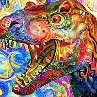 estilo impressionista pintura de retratos assustador tiranossauro rex vetor