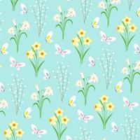 Padrão floral de Páscoa com borboletas em azul claro