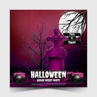 modelo de postagem de mídia social de festa de halloween. vetor