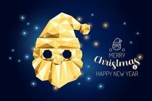 wireframe feliz Natal santa luxo ouro geometria conceito design. vetor