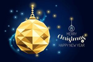 wireframe merry christmas ornament bola luxo ouro geometria design vetor