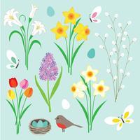 Flores de Páscoa borboletas e ninho de robin vetor