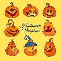 conjunto de ilustrações assustadoras de abóbora de halloween vetor