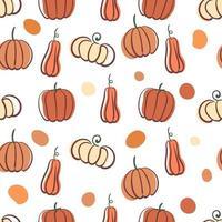 padrão de outono sem costura com abóboras estilizadas e formas. vetor