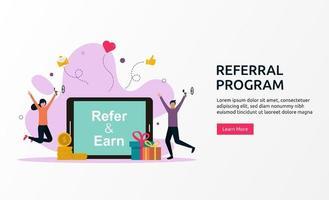programa de referência, ilustração do conceito de parceria de afiliados. vetor