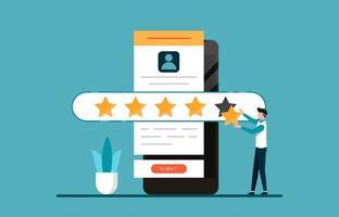 um homem dando cinco estrelas para feedback e conceito de revisão. ilustração. vetor