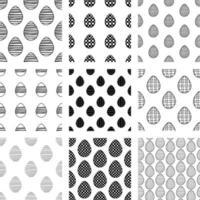 Páscoa conjunto de padrões sem emenda de ovos de doodle de mão desenhada. vetor