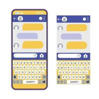 a janela do messenger na tela do telefone. comunicação vetor