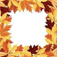 moldura quadrada feita de folhas de outono. um elemento de design. vetor. vetor