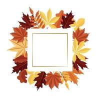 moldura quadrada feita de folhas de outono. vetor