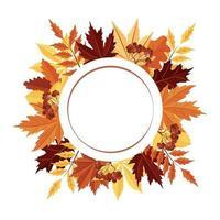 uma moldura redonda feita de folhas de outono. um espaço vazio para o texto. vetor