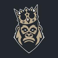 Gorila no ícone de vetor de mascote de coroa