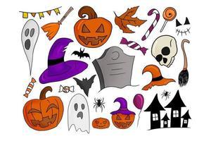 coleção colorida desenhada à mão de diferentes elementos de hallowee vetor