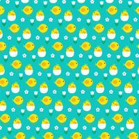 pintinho e padrão de ovo para incubação no padrão azul vetor