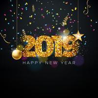 Ilustração de feliz ano novo de 2019