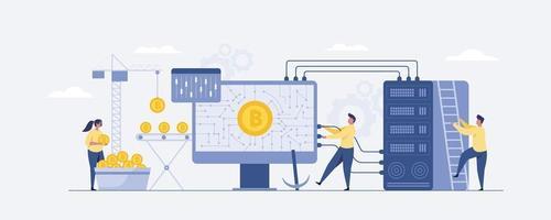 mineração de bitcoin pessoas minúsculas obtêm bitcoin. e investimento digital. vetor