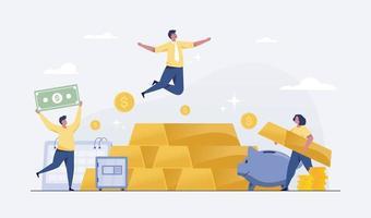 investimento de ouro no conceito de sucesso financeiro. vetor