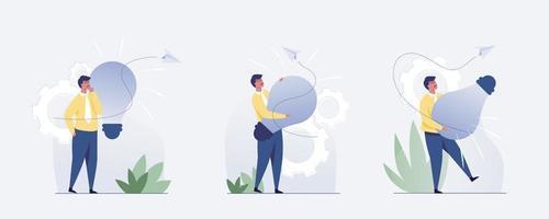 conjunto 3 empresário com uma ideia. ilustração vetorial vetor