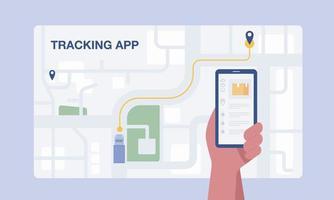 cliente usando o aplicativo móvel para rastrear a entrega do pedido. vetor