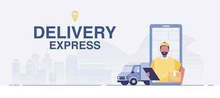 conceito de serviço de entrega online, rastreamento de pedidos online. vetor
