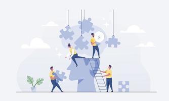 o trabalho em equipe conecta quebra-cabeças para o brainstorming. vetor