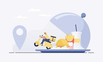 encomendar alimentos online a partir do aplicativo por telefone inteligente. entrega de fast food. vetor