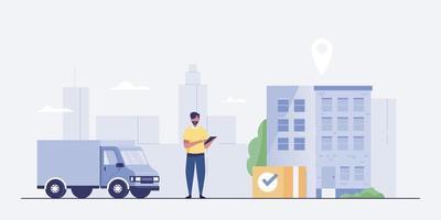 caminhão de entrega e homem com caixas. rastreamento de aplicativos móveis. vetor