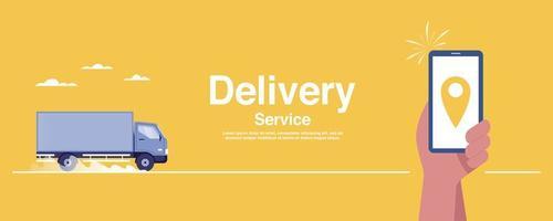 conceito de serviço de entrega. rastreamento em tempo real no aplicativo móvel. vetor
