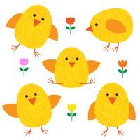 Thumbprint Easter Pintinhos e flores vetor