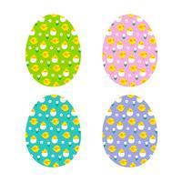 Ovos de Páscoa com padrão de pintinho vetor