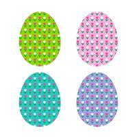 Formas de ovo de Páscoa com padrão de tulipa vetor