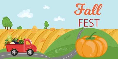 panorama da paisagem rural com caminhão vermelho e festival de outono vetor