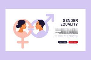 conceito de igualdade de gênero. página de destino para a web. vetor