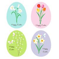 flores em ovos de Páscoa vetor