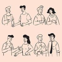grupo de pessoas rabiscando na ilustração da conversa vetor
