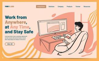 design de página de destino com trabalhador autônomo na frente de seu computador vetor