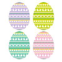 ovos de páscoa com padrões de listra de coelho vetor