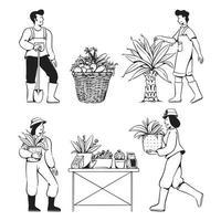 pessoas rabiscam atividades de jardinagem vetor
