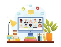 videoconferência de reunião online, home office remoto vetor