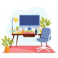 escritório em casa local de trabalho vetor