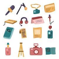 conjunto de elementos da indústria cinematográfica vetor