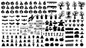 coleção de silhuetas para o dia das bruxas com abóboras assustadoras vetor