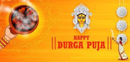 rosto de deusa durga em feliz durga puja subh navratri religioso indiano vetor