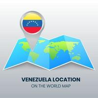ícone de localização da venezuela no mapa mundial vetor