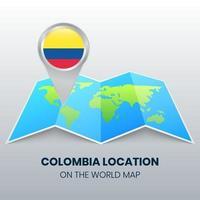 ícone de localização da Colômbia no mapa mundial, ícone de alfinete redondo da Colômbia vetor