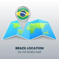 ícone de localização do brasil no mapa mundial, ícone de alfinete redondo do brasil vetor
