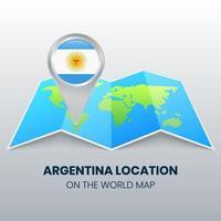 ícone de localização da argentina no mapa mundial vetor