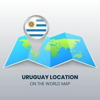 ícone de localização do Uruguai no mapa mundial, ícone de pino redondo do Uruguai vetor